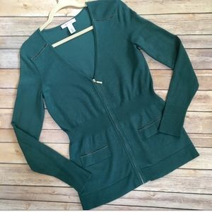 White House Black Market green zip front cardigan